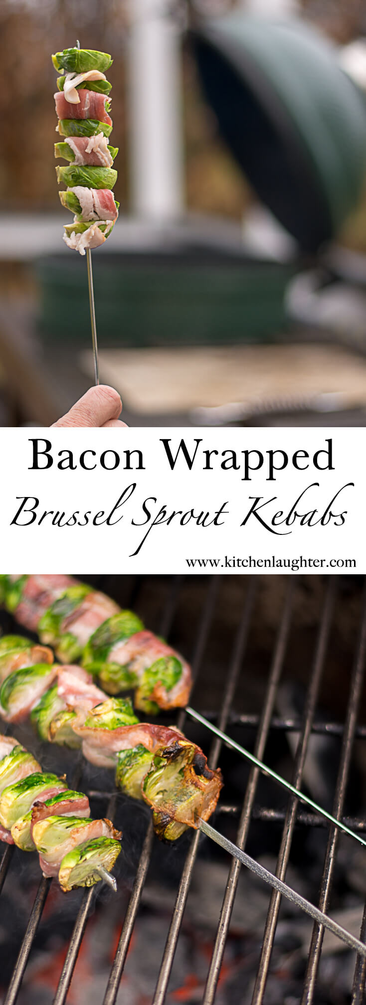 Grilled Bacon Wrapped Brussel Sprouts Kebabs #Grill #BGE #BigGreenEgg #Vegetables #GrilledVeggies #BrusselSprouts #Bacon