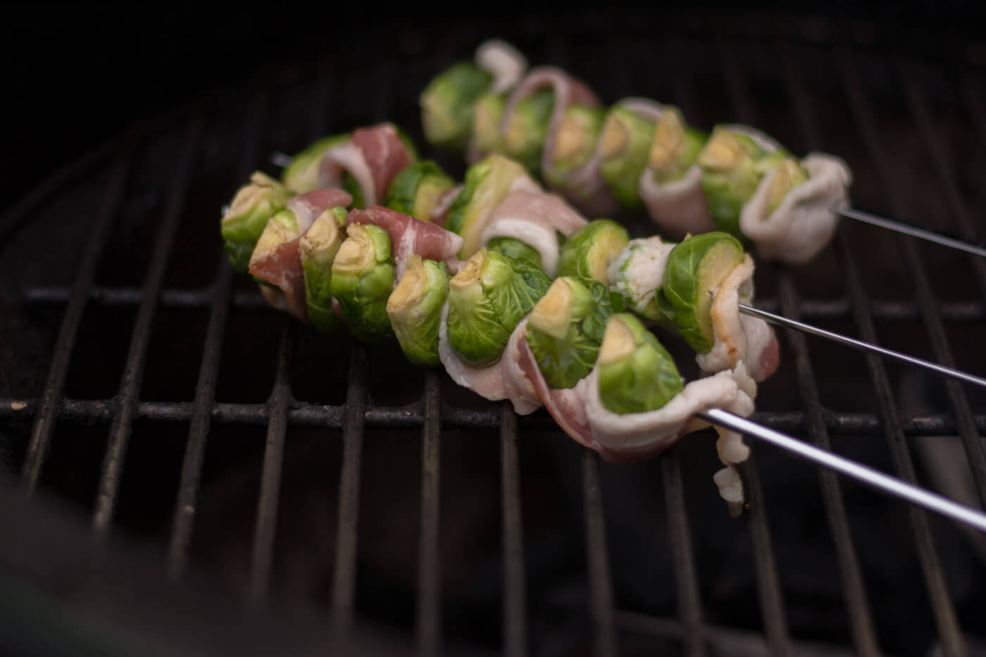 Bacon Wrapped Brussel Sprout Skewers Fresh on the Grill