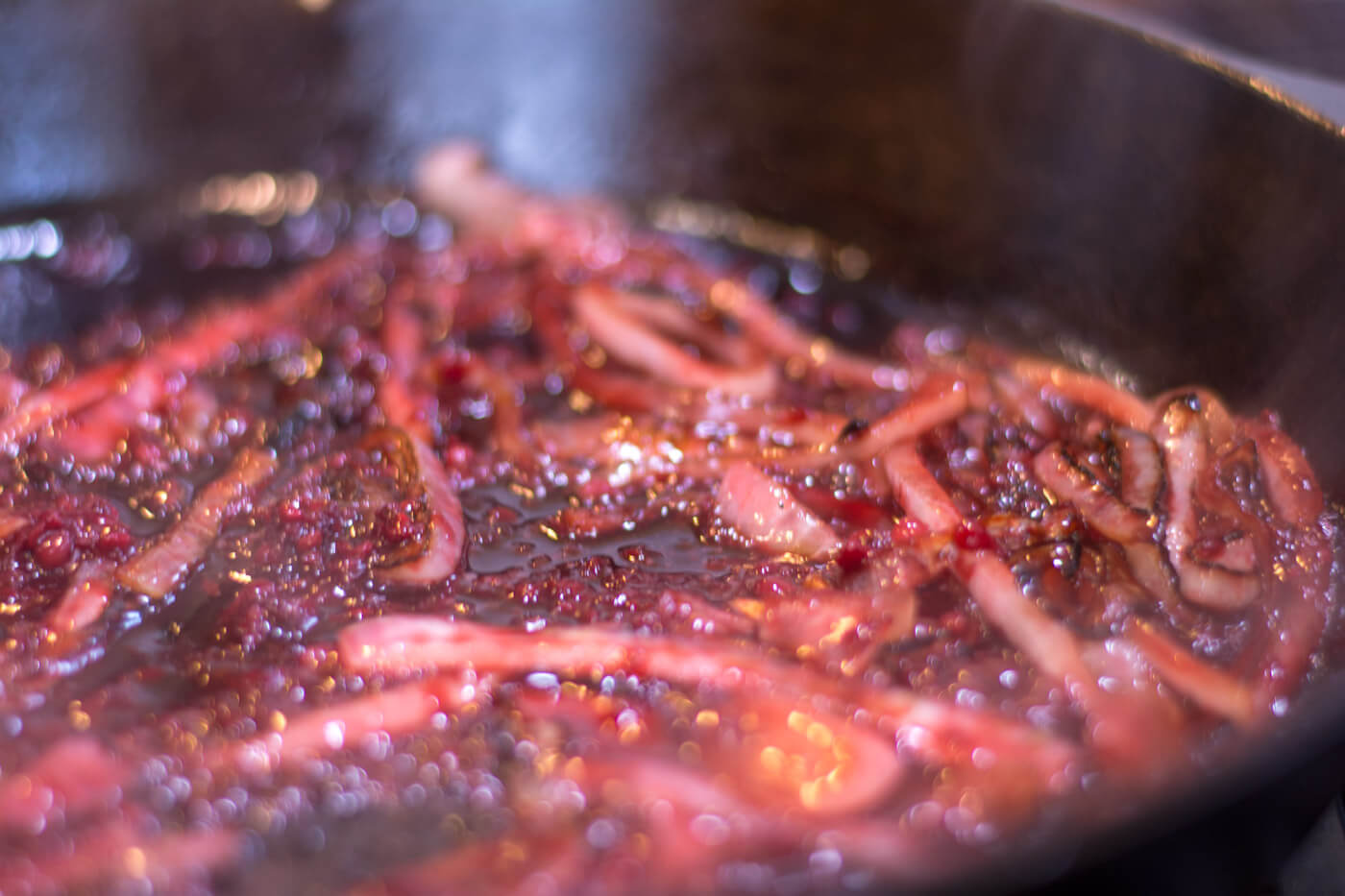 Caramelized Onions and Sauce Mixture in the Cast Iron Skillet