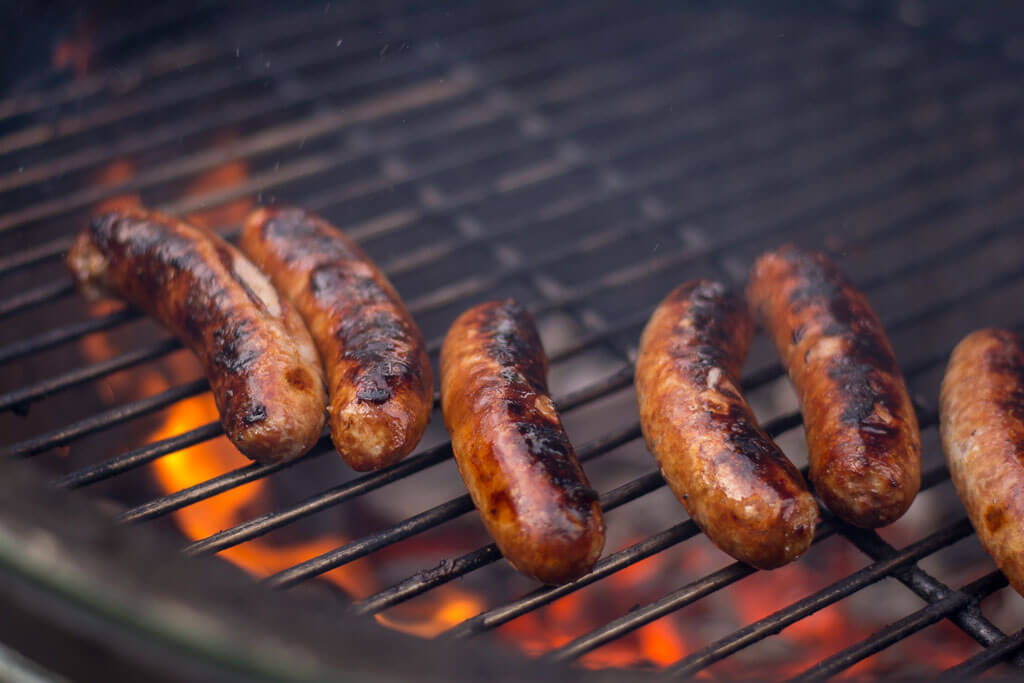 Grilled Beer Brats on the Big Green Egg
