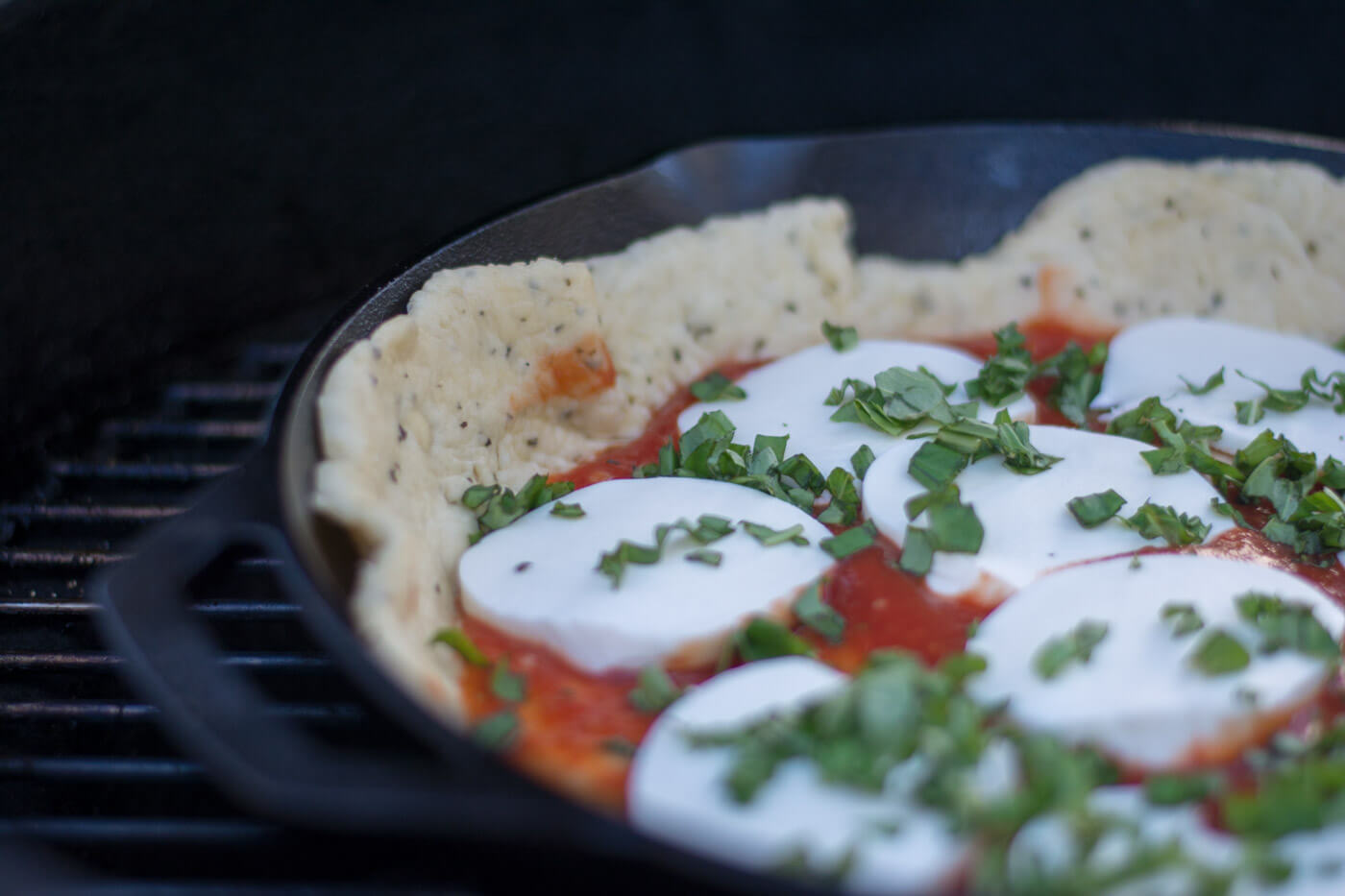 Fresh Mozzarella and Basil on Grilled Cast Iron Pizza