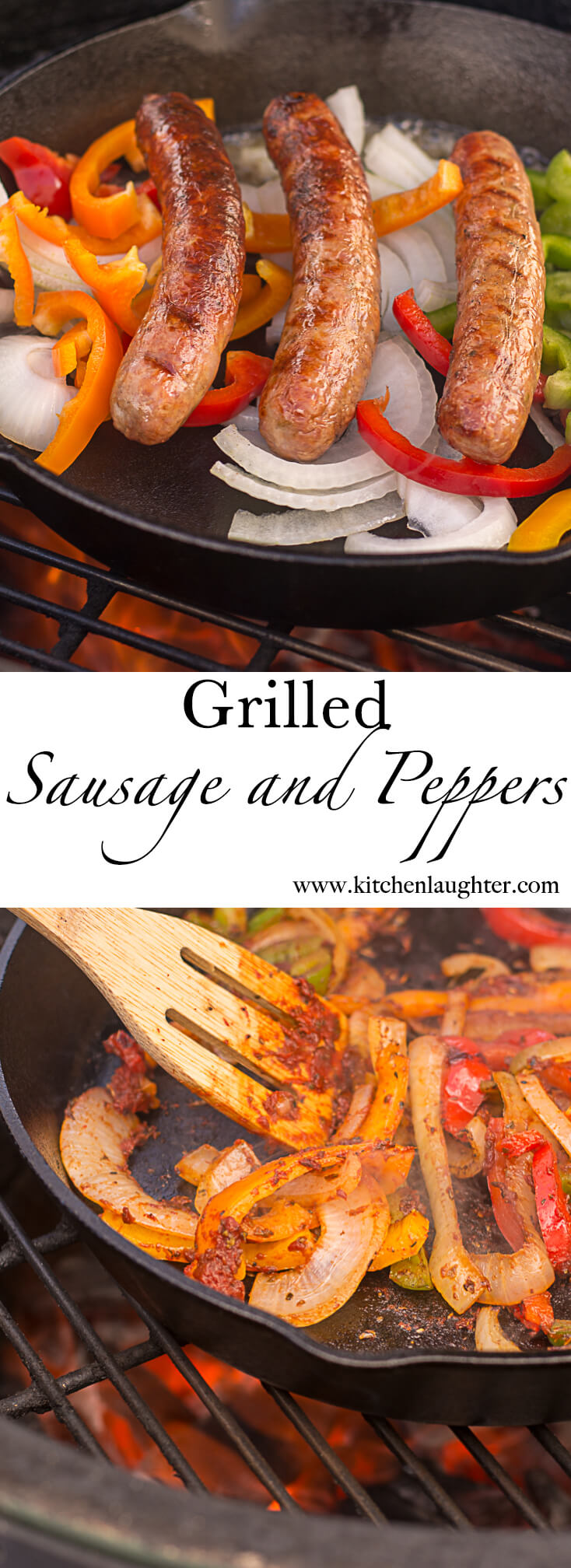 Grilled Sausage and Peppers #Grilled #SausageandPeppers #BGE #BigGreenEgg #TailGate #GrilledSausage #CastIron