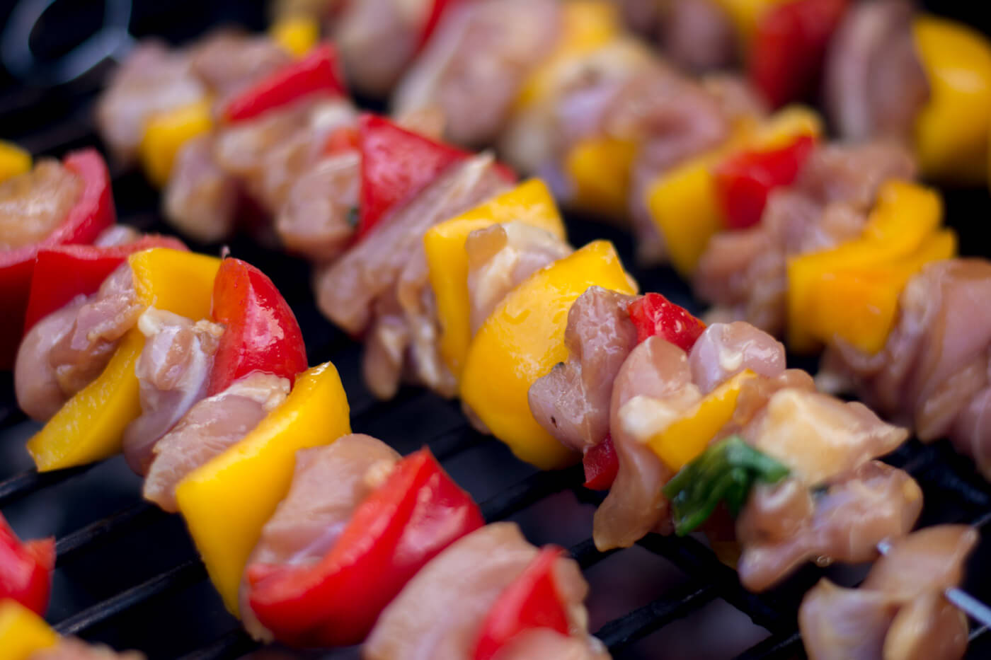 Grilled Honey Chicken Kebabs Fresh on the Big Green Egg