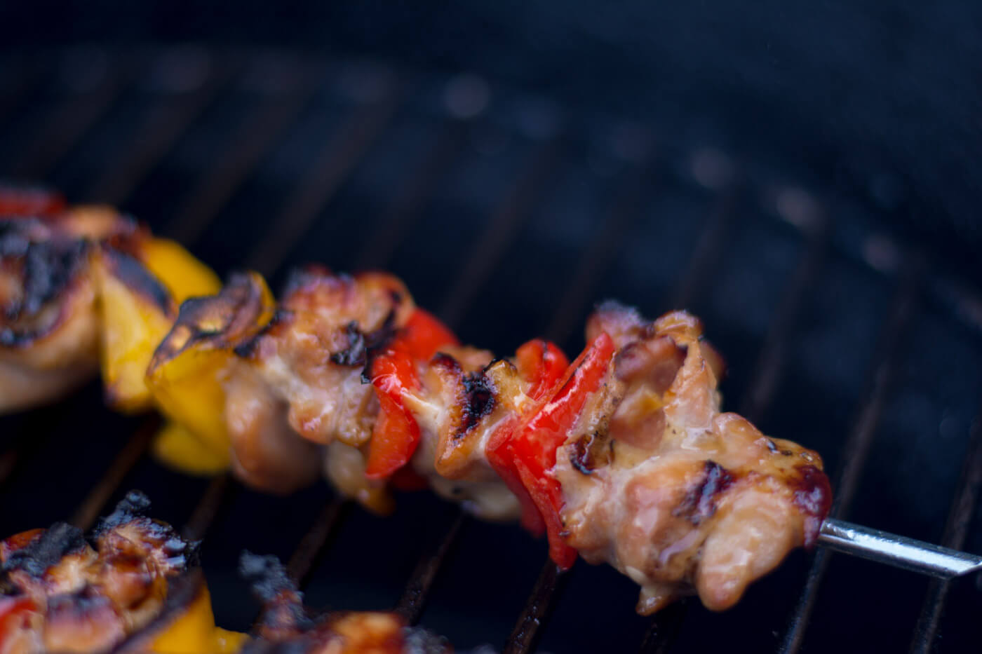 Grilled Honey Chicken Kebabs on the Big Green Egg - Almost Done