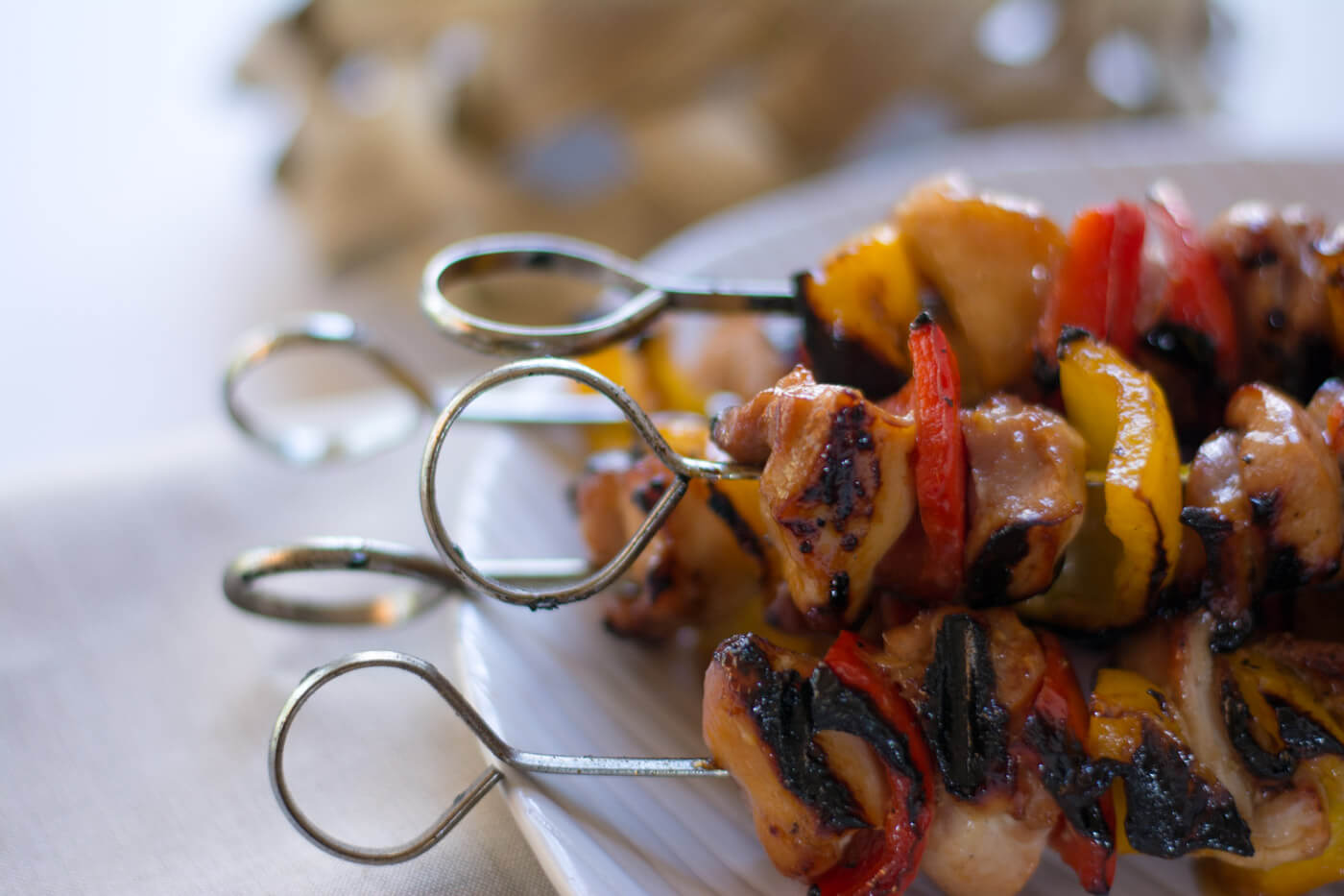 Grilled Honey Chicken Kebabs With a Nice Sear