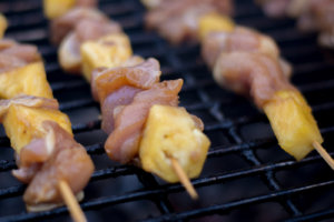 Hawaiian Chicken Kebabs - Fresh on the Big Green Egg Direct Heat