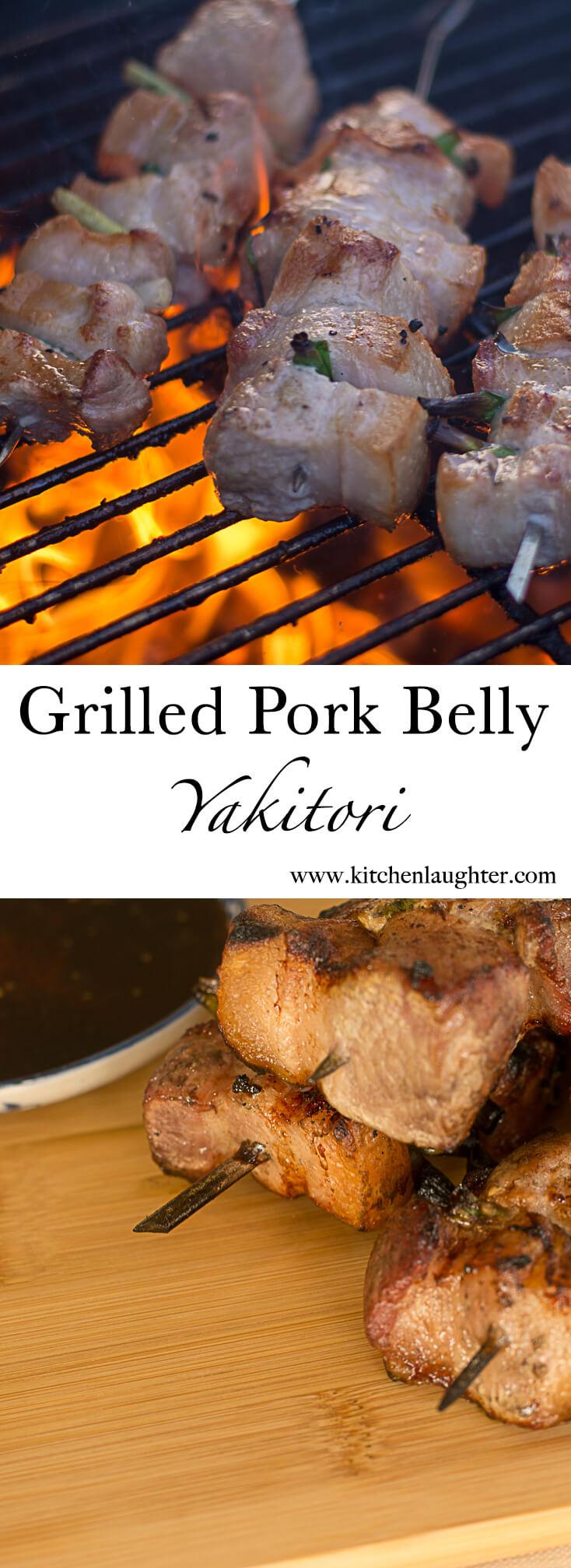 Grilled Pork Belly Yakitori #PorkBelly #Grilling #BGE #BigGreenEgg #Japanese #pork #kebab #skewer
