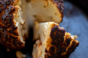 Close in Shot of the Smoked Cauliflower Slice