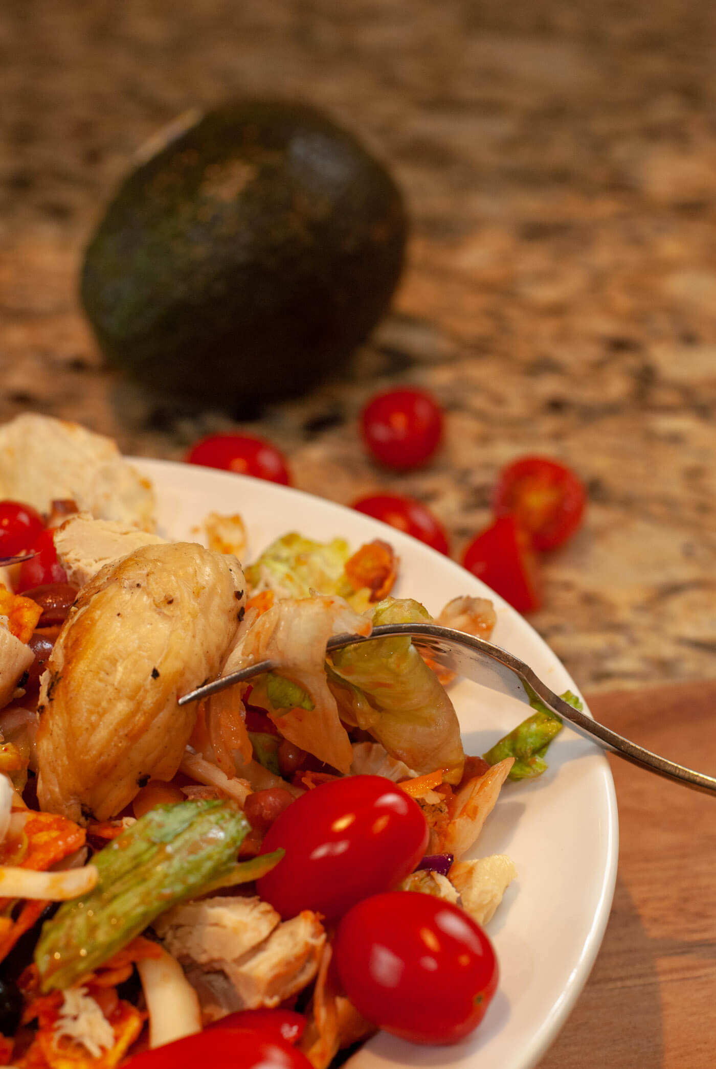 Grilled Chicken Dorito Taco Salad with Tomatoes and Avocado