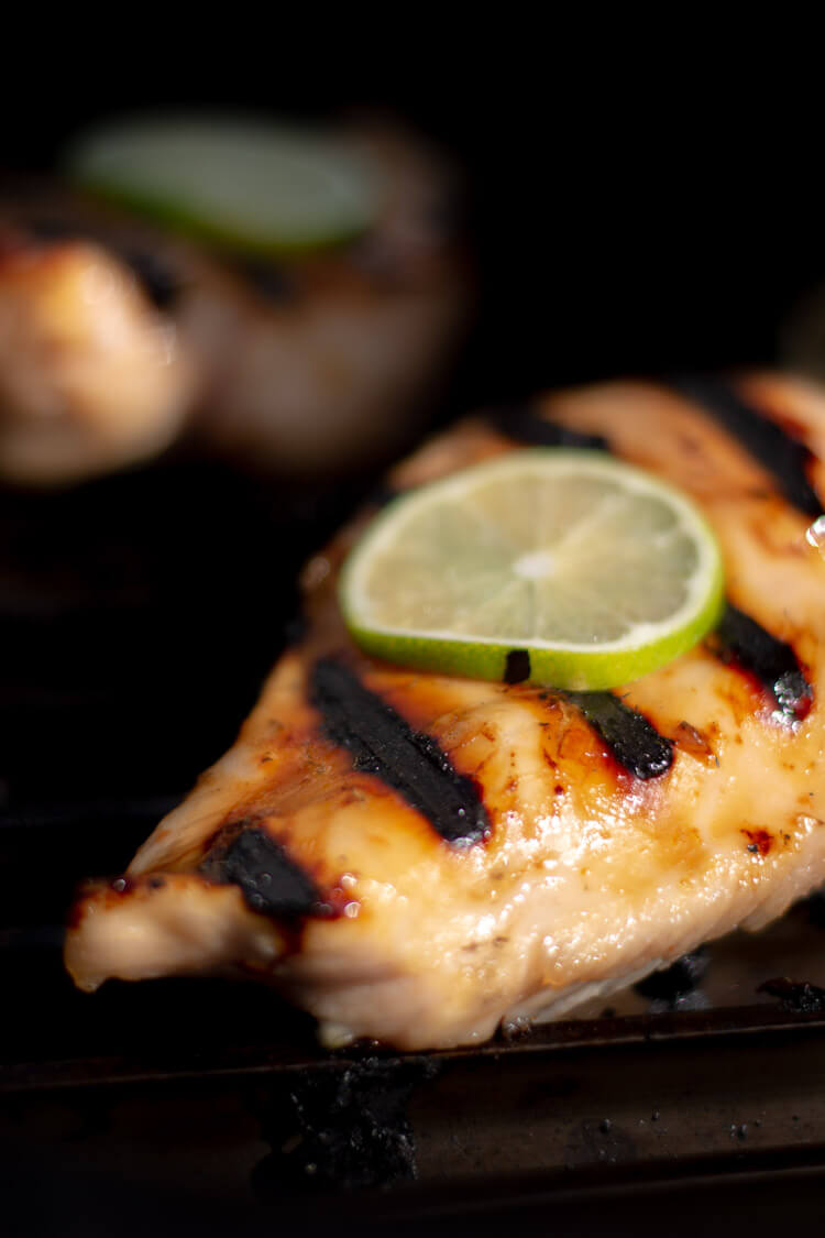 Closeup of Boneless Skinless Lime Chicken Recipe on the Grill