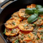 Grilled Parmesan Sweet Potatoes topped with Chives and Basil