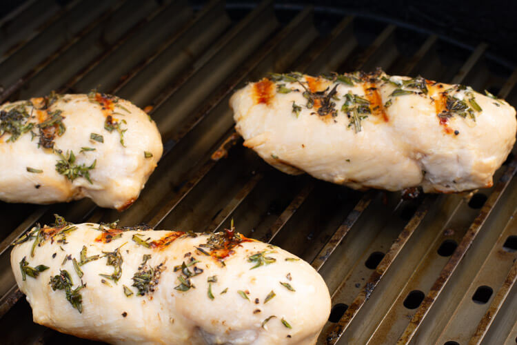Grilled Rosemary Thyme Chicken Breasts on a GrillGrate