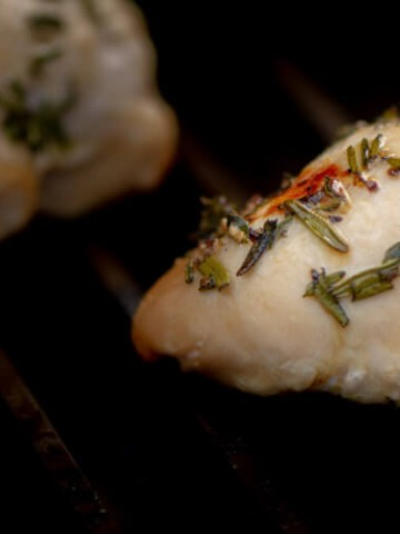 Closeup of the Rosemary Thyme Chicken on the Grill