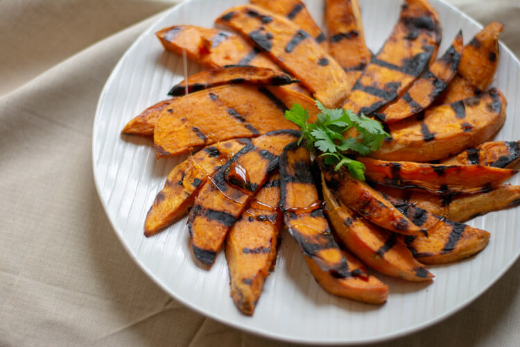 Grilled Sweet Potato Wedges with Drizzled Honey
