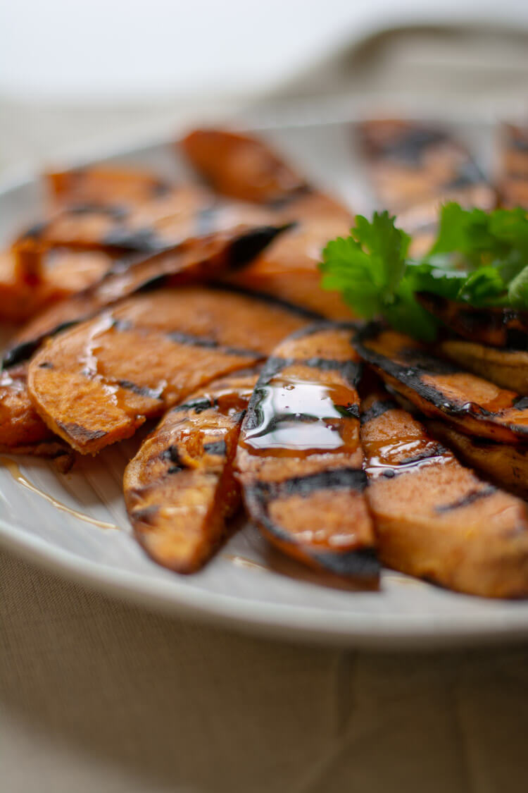 Grilled Sweet Potatoes with Drizzled Honey