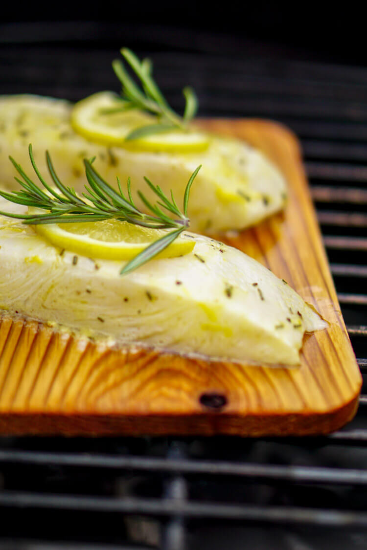 Grilled Lemon Rosemary Halibut on a Cedar Plank