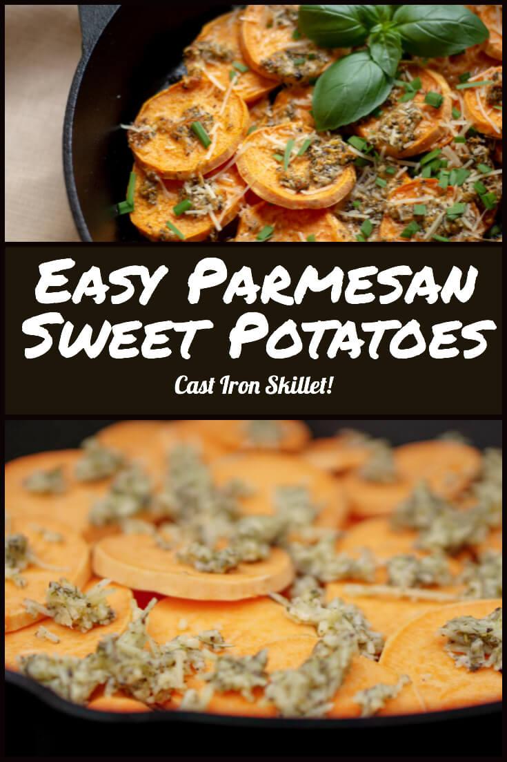Easy Parmesan Sweet Potatoes #sweetpotatoes #yams #biggreenegg #castiron #grill #bge #delicious