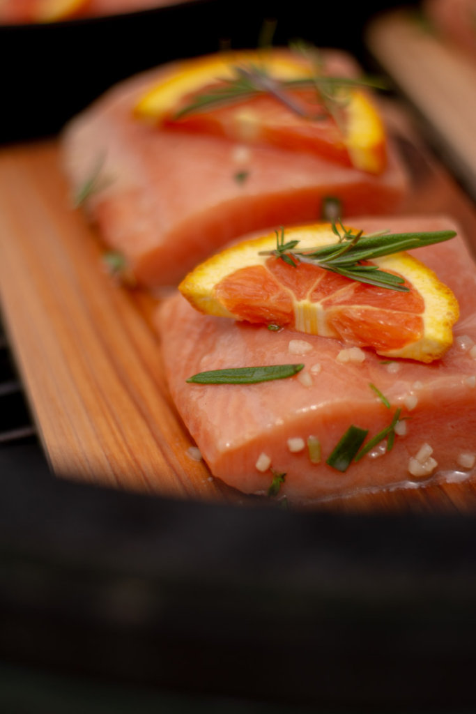 Grilled Rosemary Thyme Salmon on a Cedar Plank