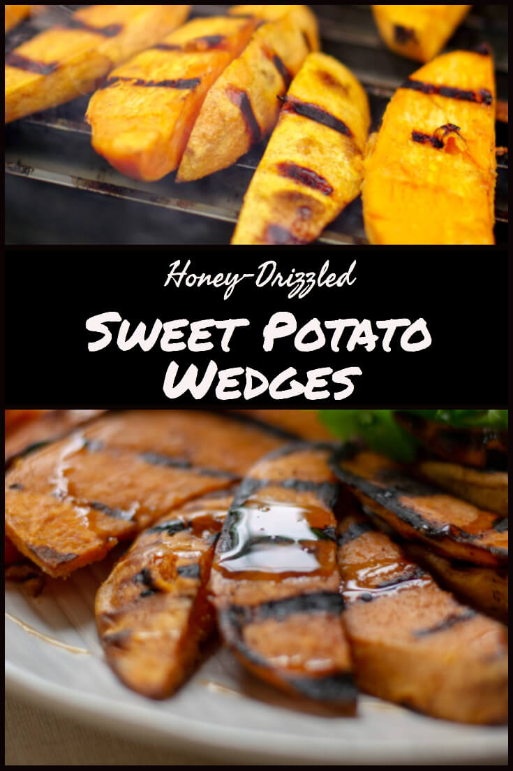 Honey Drizzled Sweet Potatoes #sweetpotato #biggreenegg #bge #grill #grilling #delicious #grillgrate