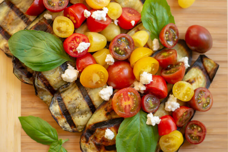 Grilled Eggplant Goat Cheese and Tomato Salad