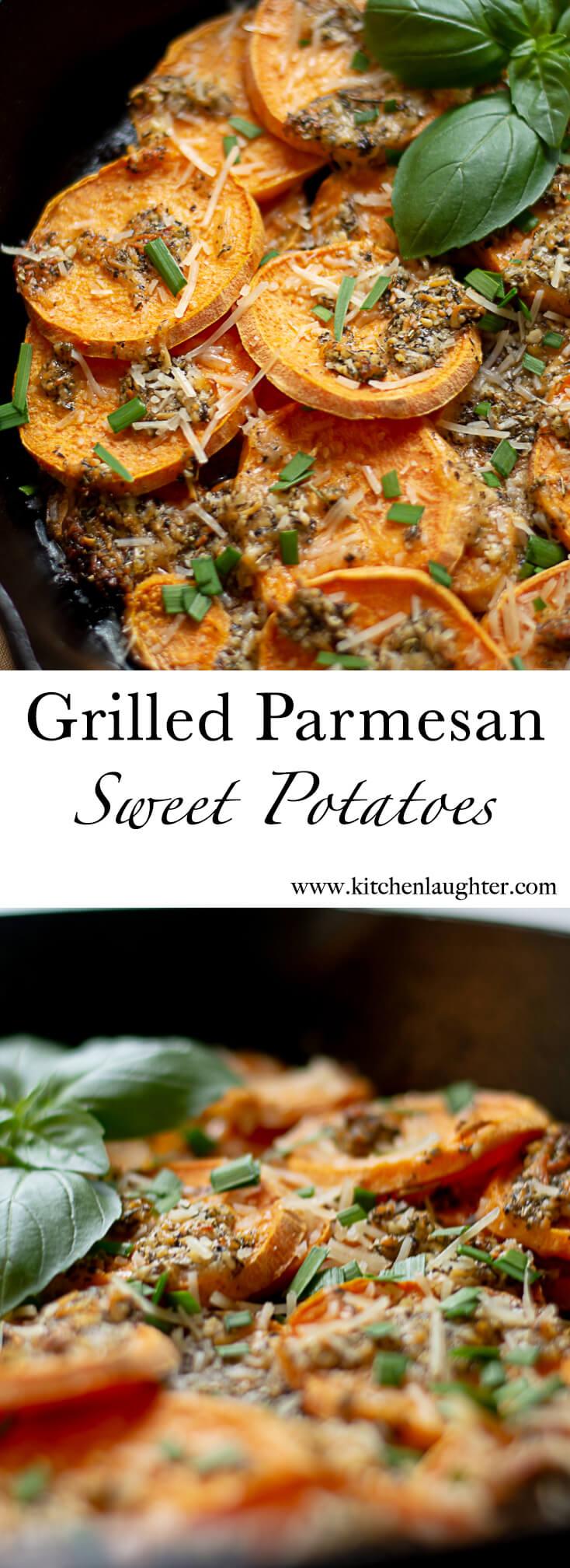 Grilled Parmesan Sweet Potatoes #Grilled #BGE #BigGreenEgg #SweetPotatoes #CastIronSkillet #Thanksgiving