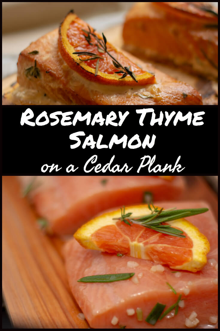Rosemary Thyme Salmon on a Cedar Plank #BigGreenEgg #BGE #salmon #cedarplank #grilling #grill #cedarplanksalmon