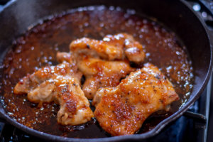 Baked Apricot Chicken in a Cast Iron Skillet