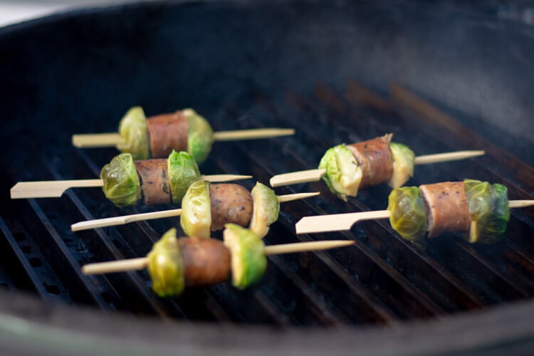 Grilled Beer Brats and Brussel Sprout Bites