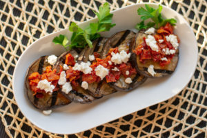 Sliced and Ready for the Table - This Grilled Eggplant Dish is Very Easy to Make and Extremely Delicious