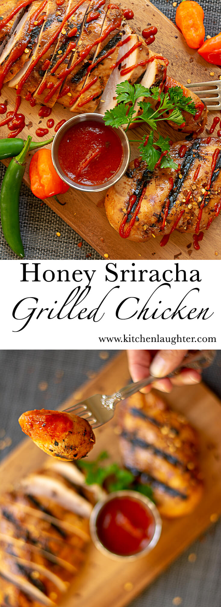 Grilled Honey Sriracha Chicken #Grilled #BGE #BigGreenEgg #Sriracha #Grilling #Chicken #GrillPorn #GrillGrate