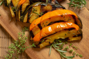 Grilled Acorn Squash on the Cutting Board and Ready to Serve