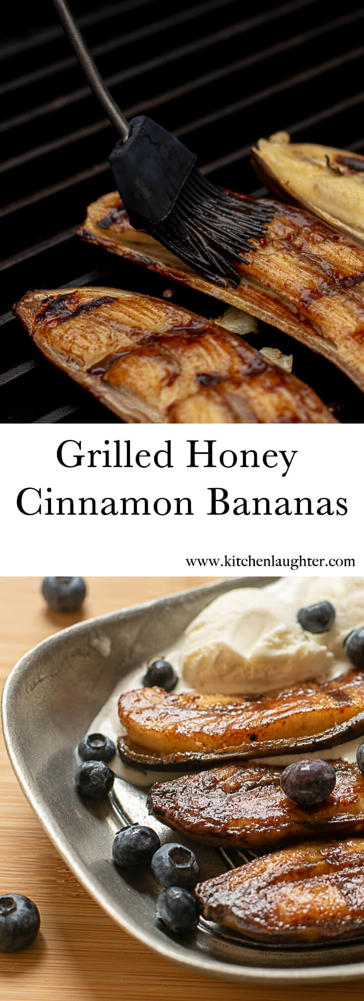 Grilled Honey Cinnamon Bananas #BGE #BigGreenEgg #Grill #GrilledFruit #Bananas #Dessert