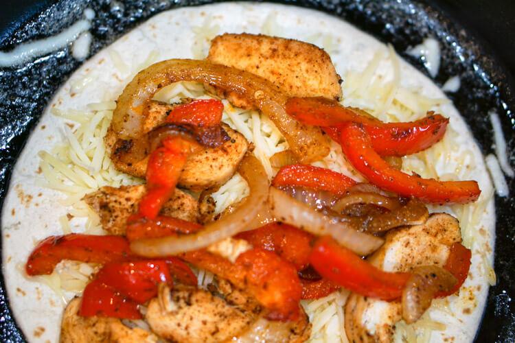Grilled Chicken Fajita Quesadilla - Almost done!