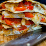 Grilled Chicken Fajita Quesadilla cut and ready to be served