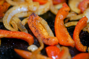 Grilled Chicken Fajita Quesadilla - Sautéing the Peppers and Onions
