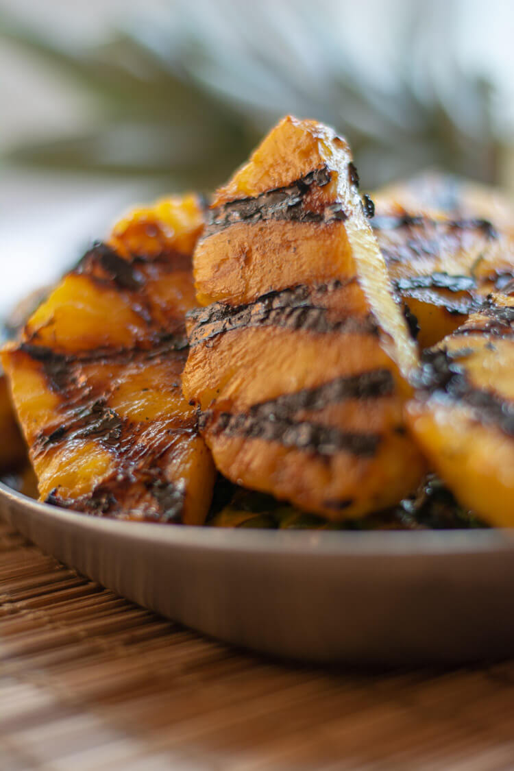 Closeup of Grilled Cinnamon Pineapple Ready to Be Served
