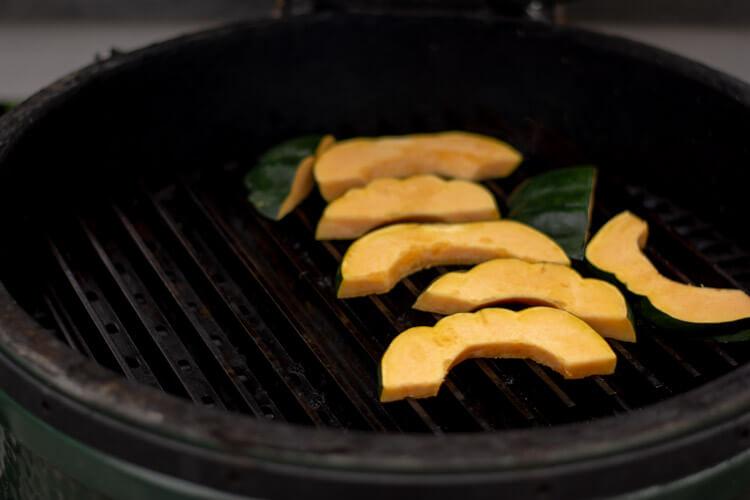 Grilled Honey Acorn Squash fresh on the Big Green Egg
