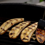 Brush the Honey Cinnamon mixture on the Grilled Bananas