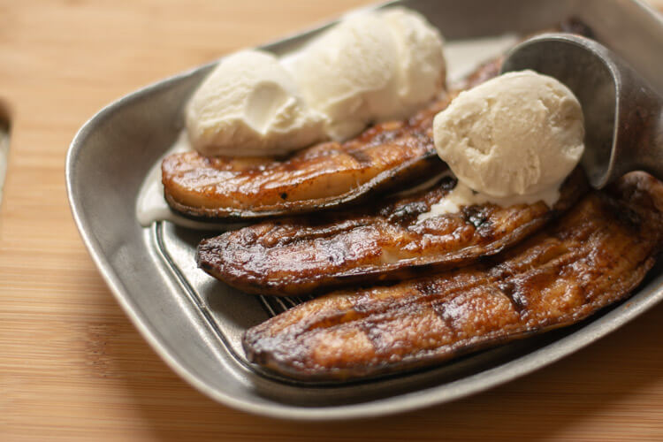 Grilled Honey Cinnamon Bananas with a scoop an Vanilla Ice Cream