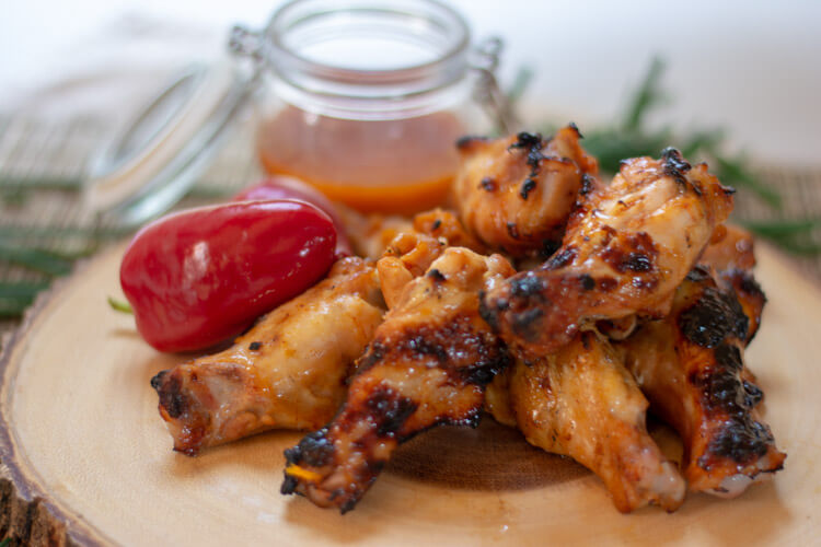 Grilled Orange and Honey Sriracha Chicken with Red Peppers