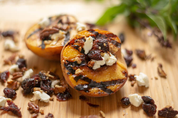 Grilled Peaches with Goat Cheese Pecans and Cranberries