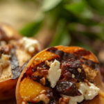 Grilled Peaches sprinkled with Goat Cheese, Dried Cranberries and Delicious Goat Cheese