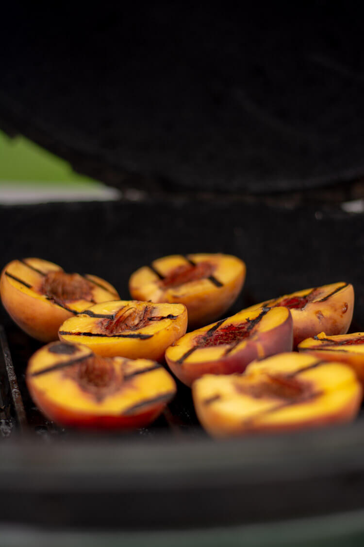 Grilled Peaches After Cooking for Four Minutes and Flipped Over