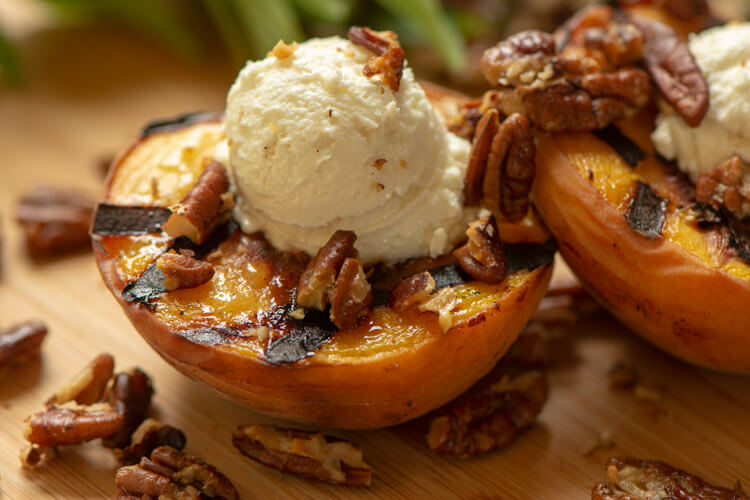 Grilled Peaches with Honey Goat Cheese and Pecans