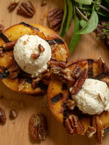 Grilled Peaches with Honey Goat Cheese and Sprinkled with Pecans