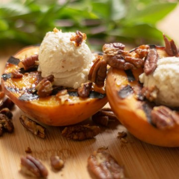 Delicious Dessert - Grilled Peaches with Honey Goat Cheese and Pecans