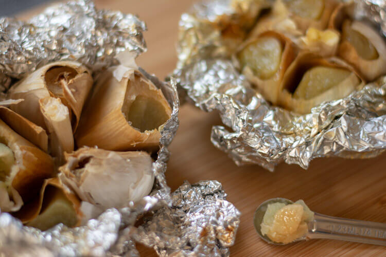 Grilled Roasted Garlic in Foil and a Nice Teaspoon of the Soft Garlic