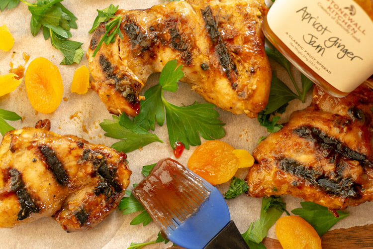Dried Apricots complement the Grilled Chicken Thighs Fresh off the Big Green Egg