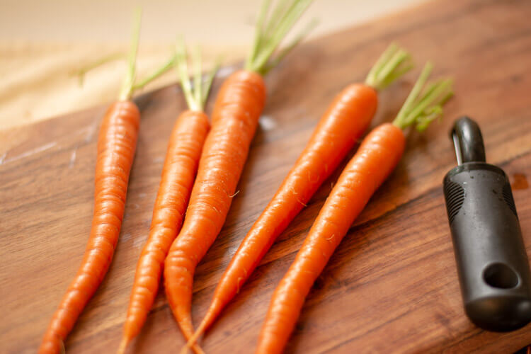 Fresh Carrots Cleaned and Ready for the Balsamic Glaze