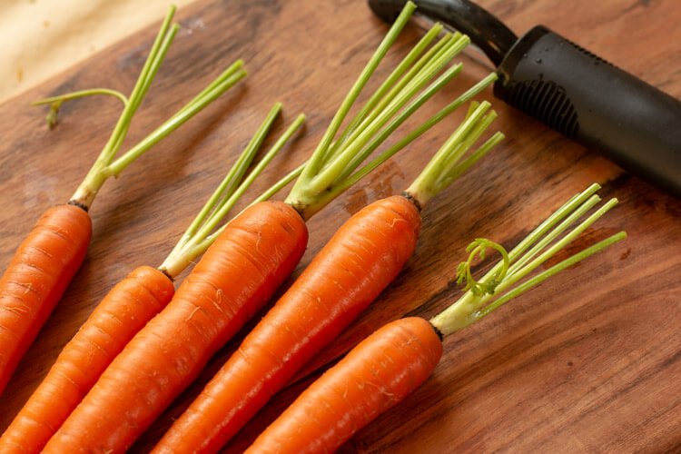 Trim the Tops of the Fresh Whole Carrots